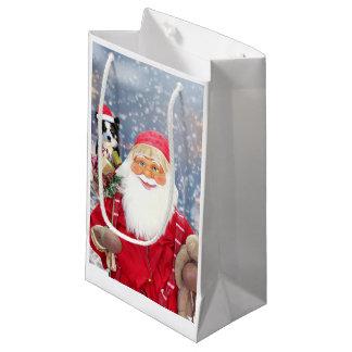 Santa Claus w Christmas Gifts Border Collie Dog Small Gift Bag
