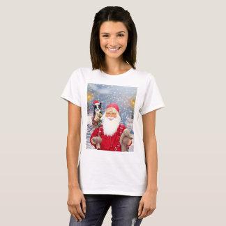 Santa Claus w Christmas Gifts Border Collie Dog T-Shirt