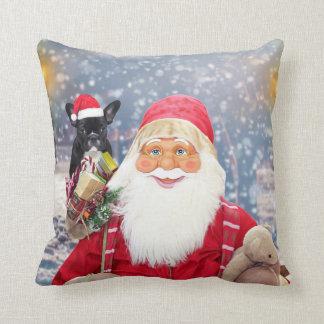 Santa Claus w Christmas Gifts French Bulldog Cushion