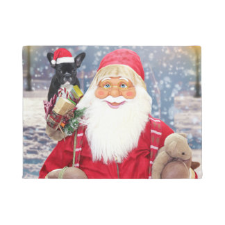 Santa Claus w Christmas Gifts French Bulldog Doormat