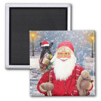 Santa Claus w Christmas Gifts French Bulldog Magnet