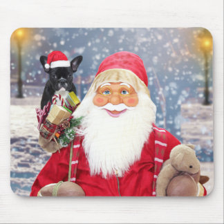 Santa Claus w Christmas Gifts French Bulldog Mouse Pad