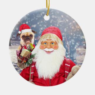 Santa Claus w Christmas Gifts Pug Dog Ceramic Ornament