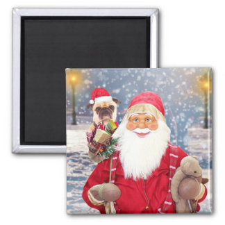 Santa Claus w Christmas Gifts Pug Dog Magnet