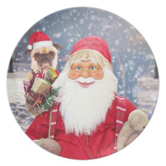 Santa Claus w Christmas Gifts Pug Dog Plate