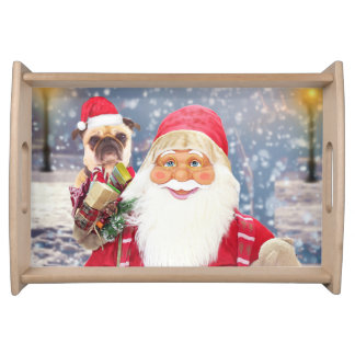 Santa Claus w Christmas Gifts Pug Dog Serving Tray