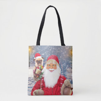 Santa Claus w Christmas Gifts Pug Dog Tote Bag