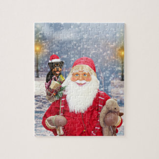 Santa Claus w Christmas Gifts Rottweiler Dog Jigsaw Puzzle