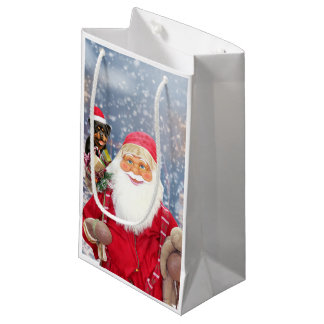 Santa Claus w Christmas Gifts Rottweiler Dog Small Gift Bag