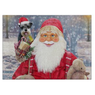 Santa Claus w Christmas Miniature Schnauzer Dog Cutting Board