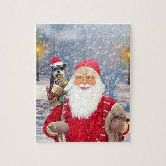 Santa Claus w Christmas Miniature Schnauzer Dog Jigsaw Puzzle