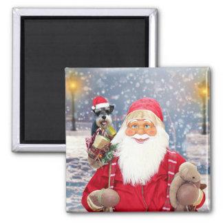 Santa Claus w Christmas Miniature Schnauzer Dog Magnet