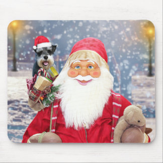 Santa Claus w Christmas Miniature Schnauzer Dog Mouse Pad