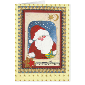 """""""Santa Claus water color collage map """" Card"""
