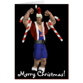 Santa Claus Weightlifter Merry Christmas Card