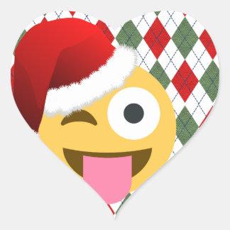 santa claus wink emoji heart sticker