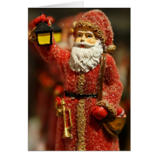 Santa Claus with a lantern Christmas decoration Greeting Cards