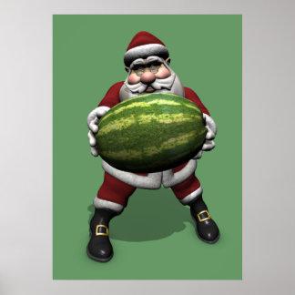 Santa Claus With Big Melon Poster