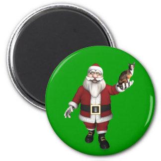 Santa Claus With Calico Cat Magnet