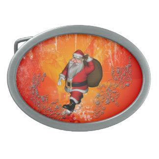 Santa Claus with decorative floral elements Oval Belt Buckle