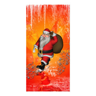 Santa Claus with decorative floral elements Picture Card