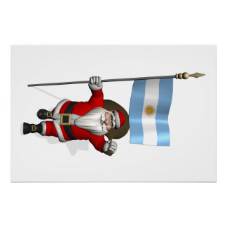 Santa Claus With Ensign Of Argentina Poster