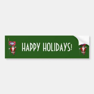 Santa Claus With Ensign Of Arkansas Bumper Sticker