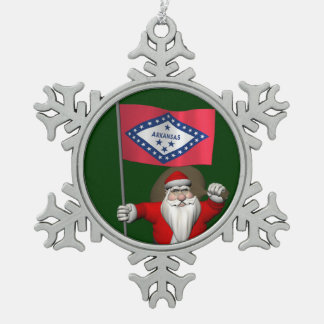 Santa Claus With Ensign Of Arkansas Snowflake Pewter Christmas Ornament