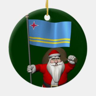 Santa Claus With Ensign Of Aruba Round Ceramic Decoration