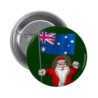 Santa Claus With Ensign Of Australia 6 Cm Round Badge