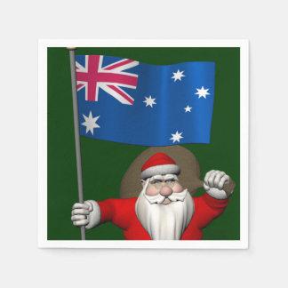 Santa Claus With Ensign Of Australia Disposable Serviette