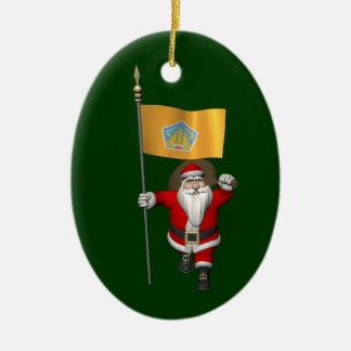 Santa Claus With Ensign Of Bali Ceramic Oval Decoration