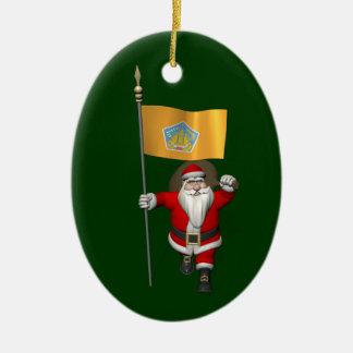 Santa Claus With Ensign Of Bali Christmas Ornaments