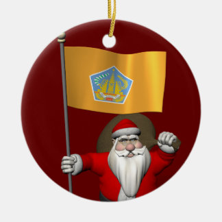 Santa Claus With Ensign Of Bali Christmas Tree Ornaments