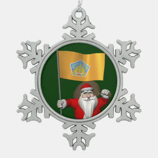 Santa Claus With Ensign Of Bali Pewter Snowflake Decoration