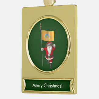 Santa Claus With Ensign Of Bali Gold Plated Banner Ornament