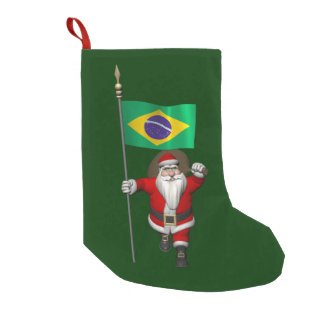Santa Claus With Ensign Of Brazil