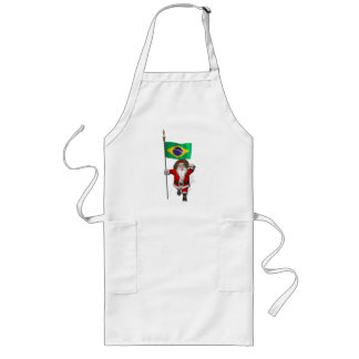 Santa Claus With Ensign Of Brazil Long Apron
