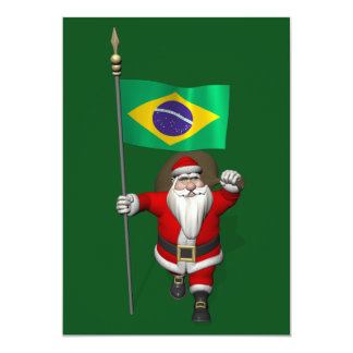 """Santa Claus With Ensign Of Brazil 5"""" X 7"""" Invitation Card"""