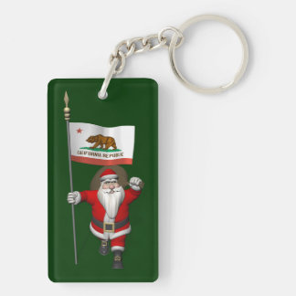 Santa Claus With Ensign Of California Double-Sided Rectangular Acrylic Key Ring