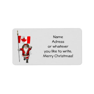 Santa Claus With Ensign Of Canada Address Label