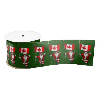 Santa Claus With Ensign Of Canada Satin Ribbon