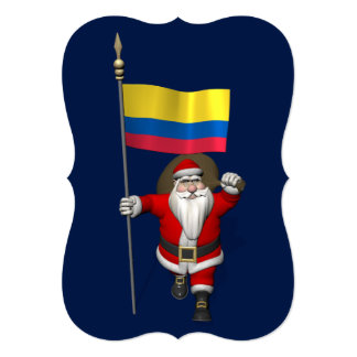 """Santa Claus With Ensign Of Colombia 5"""" X 7"""" Invitation Card"""