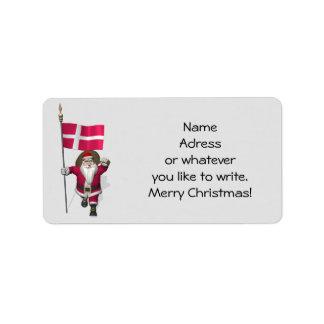 Santa Claus With Ensign Of Denmark Dannebrog Address Label