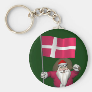 Santa Claus With Ensign Of Denmark Dannebrog Basic Round Button Key Ring
