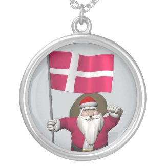 Santa Claus With Ensign Of Denmark Dannebrog Silver Plated Necklace