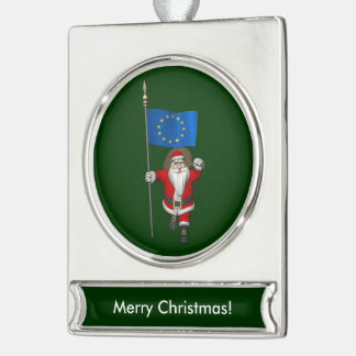 Santa Claus With Ensign Of European Union Silver Plated Banner Ornament