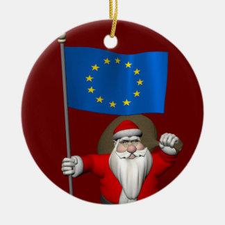 Santa Claus With Ensign Of European Union Round Ceramic Decoration