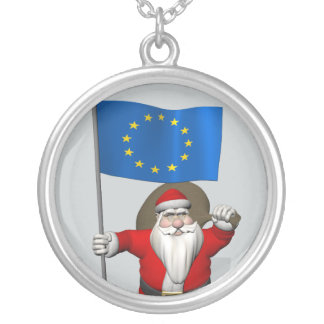 Santa Claus With Ensign Of European Union Silver Plated Necklace
