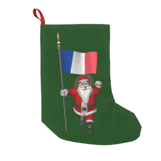 Santa Claus With Ensign Of France Small Christmas Stocking